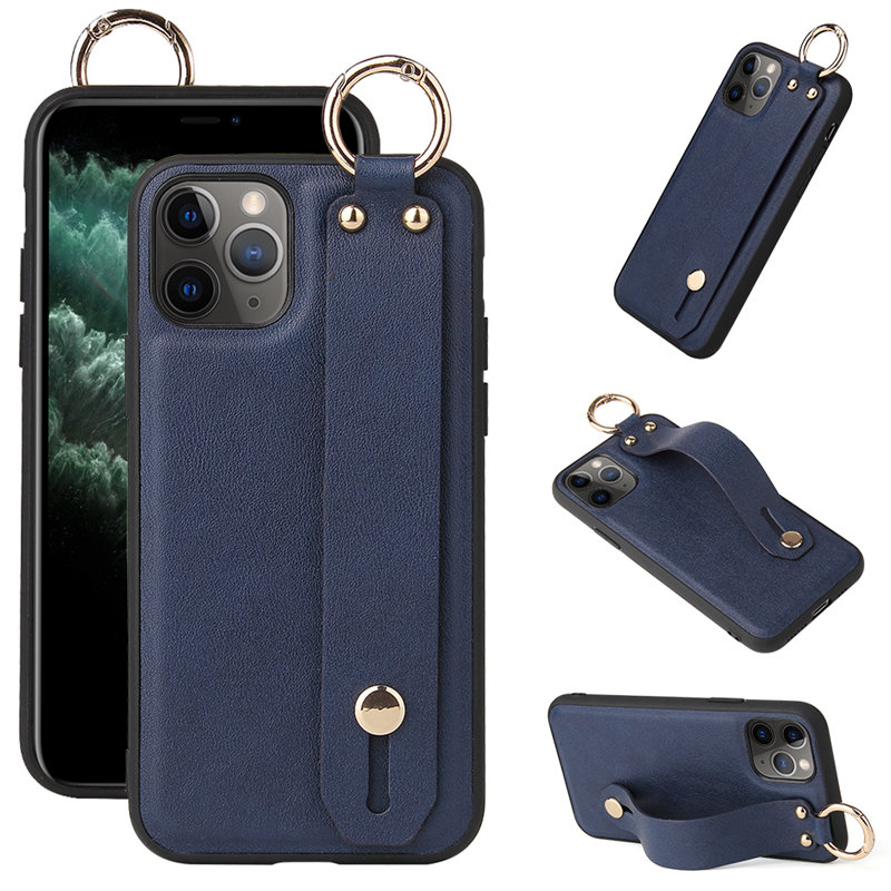 Wrist Strap Stand Holder PU Leather Phone Case For iPhone 12 Pro