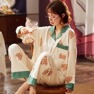 Image 5 - BZEL Neue Mode Nachtwäsche frauen Baumwolle Pyjamas Mit Taschen Qualität Pijama Lose Pyjama Femme Hause Tragen Nachtwäsche M XXXL