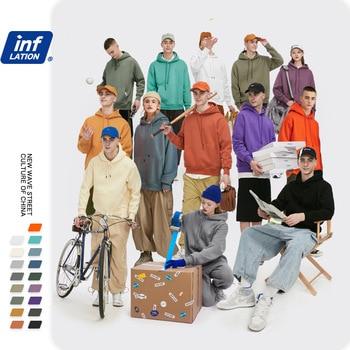 INFLATION 2020 Autumn Mens Thick Fleece Hoodies Hip Hop Pure Hoodies Thick Velvet Fabrics Winter Hoodies 167W17