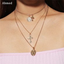 Ahmed Multilayered Madonna Cross Pendant Long Necklace Set for Women Boho Golden Carve Portrait Coin Chain Necklace Girl Gift цена