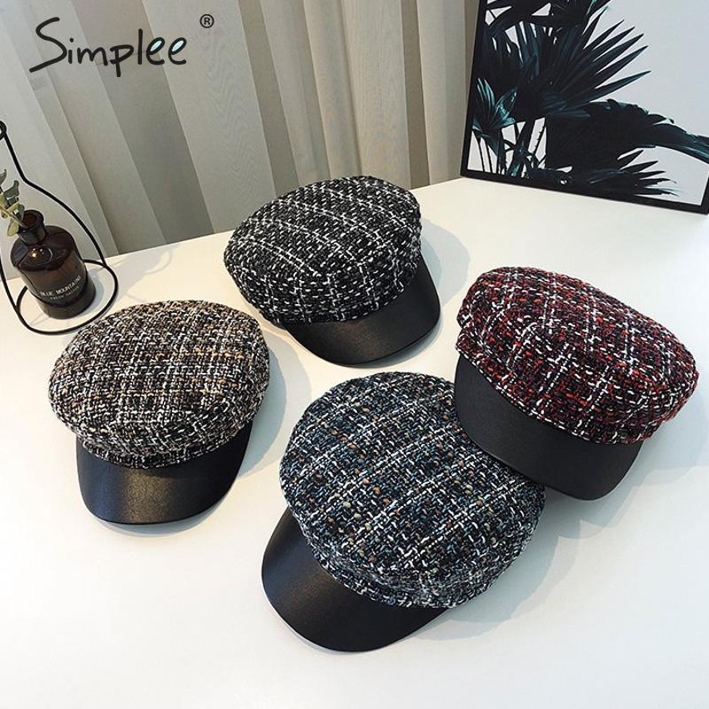 Simplee Casual Plaid Tweed Military Cap Women Autumn Winter Female Beret Hat Female Caps Streetwear Fashion Ladies Painter Hats