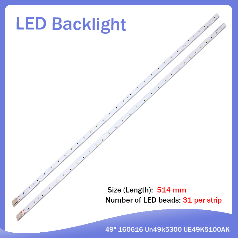 New Kit 10 PCS 31LED 515mm LED Backlight Strip For Samsung Louvre 49 160628 R L Diamond BN96-4659A 4660A BN95-03721A UE49K5100