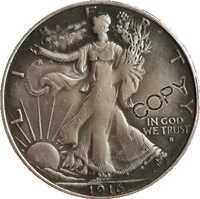 1916, P D S caminar libertad medio dólar copia monedas