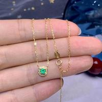 shilovem 18k yellow gold real Natural emerald Gemstone pendants plant women necklace new Christmas Gift dz008ml