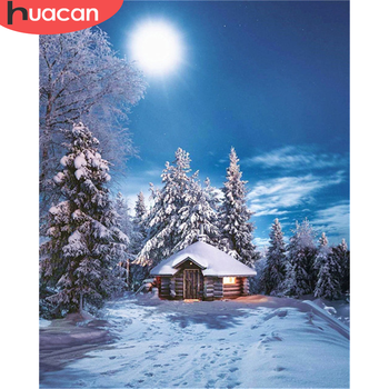 HUACAN DIY Pictures By Number Winter Night Kits Home Decor Painting By Numbers Landscape Drawing On Canvas HandPainted Art Gift
