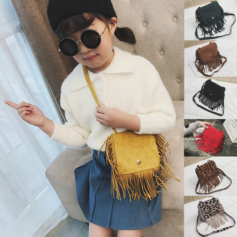 Baby Girls Mini Messenger Bag Tassel Design Kids Coin Purses Children Handbags Shoulder Bags