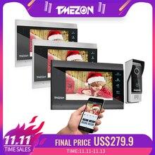 TMEZON 7 Zoll Wireless/Wifi Smart IP Video Tür Sprechanlage mit 3 Nachtsicht Monitor + 1 regendicht Türklingel Kamera