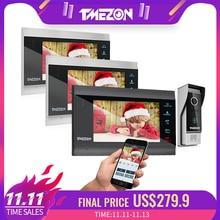 Tmezon 7 인치 무선/wifi 스마트 ip 비디오 문 전화 인터폰 시스템 3 나이트 비전 모니터 + 1 방수 초인종 카메라