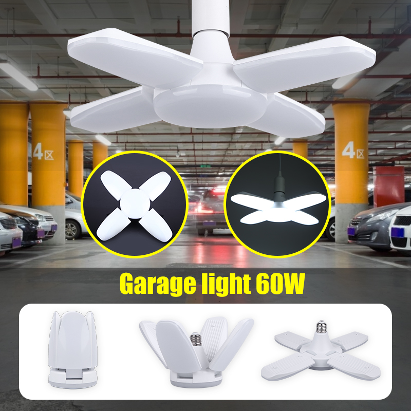 Three Leaf Led Garage Light 60W Fan Blades Garage Led Light E27 Foldable Deformation Industrial Lamp 220v For Workshop Warehouse