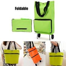 Складная хозяйственная сумка складная тележка для покупок буксир корзина для покупок многоразовая хозяйственная сумка большая емкость зеленая сумка с колесами