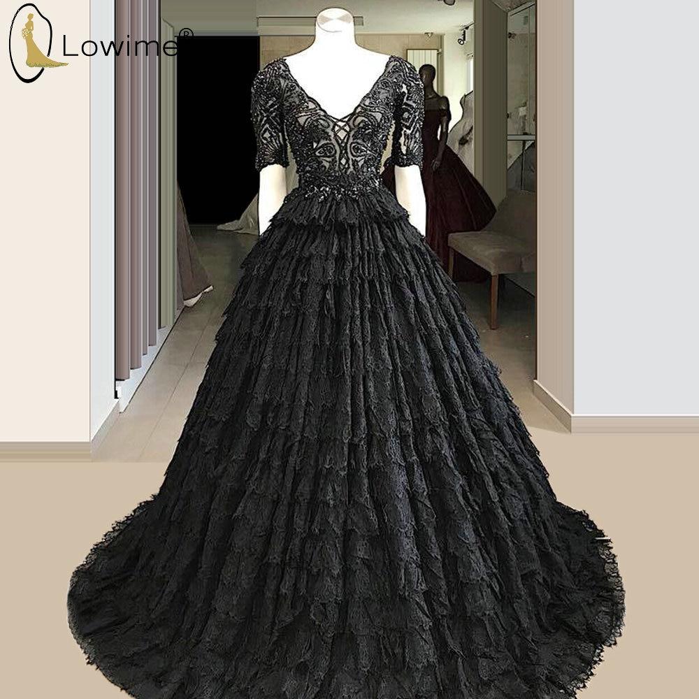 Tiered Black Lace Evening Dresses Half Sleeve V Neck A Line Applique Robes Prom Party Gowns Vestido De Festa