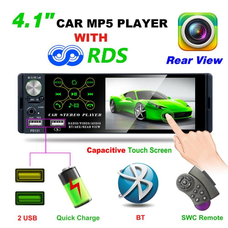 1 Din Car Radio 4.1 inch Touch Screen Car In-Dash Stereo Audio Bluetooth AM FM RDS Radio Head Unit MP5 Multimedia Player image