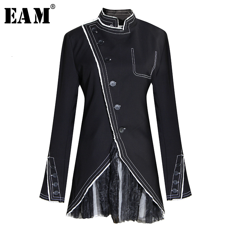 [EAM] Loose Fit Asymmetrical Mesh Split Jacket New Stand Collar Long Sleeve Women Coat Fashion Tide Spring Autumn 2020 1K439