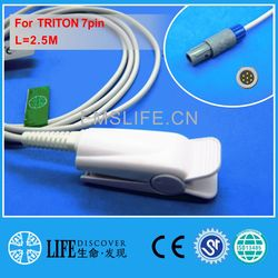 Sensor longo do grampo spo2 do dedo do cabo nk para o monitor paciente de triton 7pin