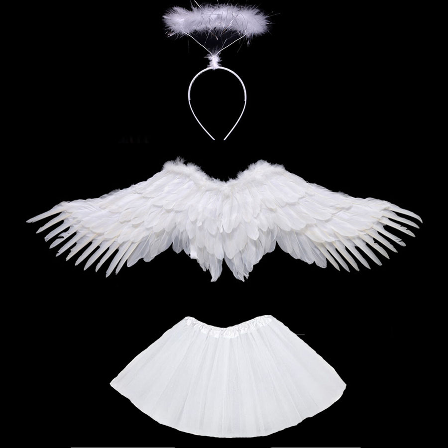 White Black Women Girl Angel Feather Wing Tutu Skirt Halo Ring Party Birthday Gift Carnival Wedding Halloween Costume Purim