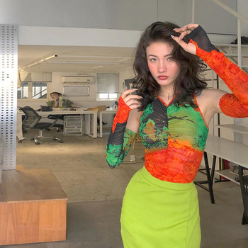 Tops y blusas para mujer de malla de ver a través de cultivo superior camisa de manga larga con cuello en V plisado acanalado streetwear tie dye mujer Transparente
