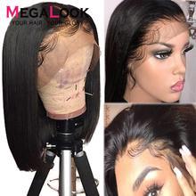 Парики боб короткий Боб кружевные передние человеческие волосы парики для черных женщин 180% прямые кружевные передние человеческие волосы парики Remy Megalook волосы 13x4