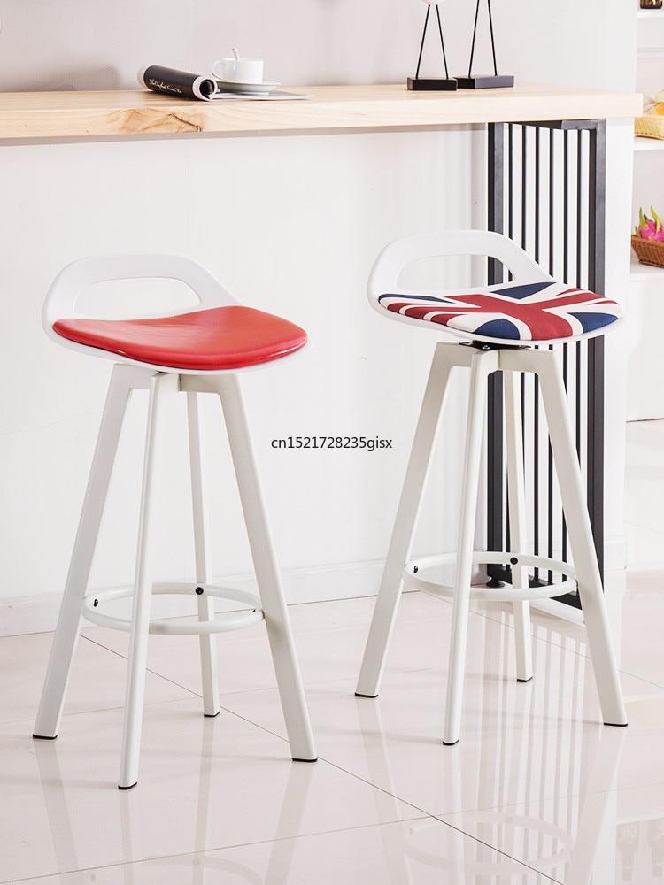 Iron Bar Stool Modern Minimalist High Stool Bar Chair Lift Bar Stool Home Back Stool Nordic Bar Chair
