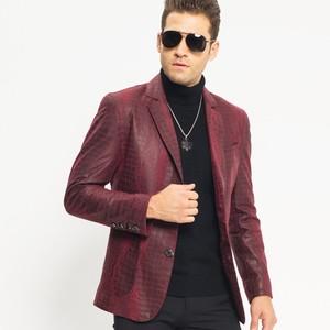 Image 3 - Man Genuine Leather Jacket Luxury Brand Sheepskin Slim Crocodile Pattern Blazer Jacket Business Single Breasted Short Coat Male
