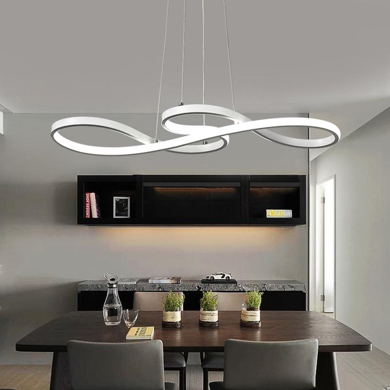 Luz colgante LED nórdica originalidad Musical nota curva colgante lámpara personalidad dormitorio cocina restaurante accesorios de iluminación - 3