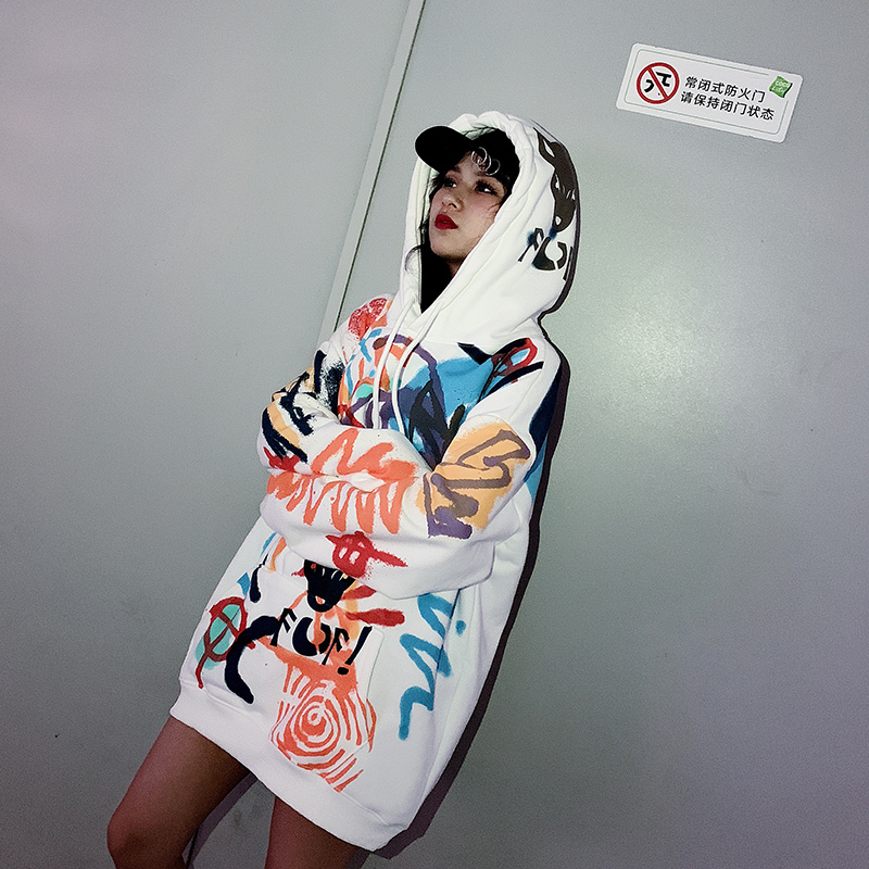 Plus Velvet  Women Hoodies Students Loose-Fit Korean-style Laziness-Style Women's 2020 New Style Fashion Sweatershirt Tops