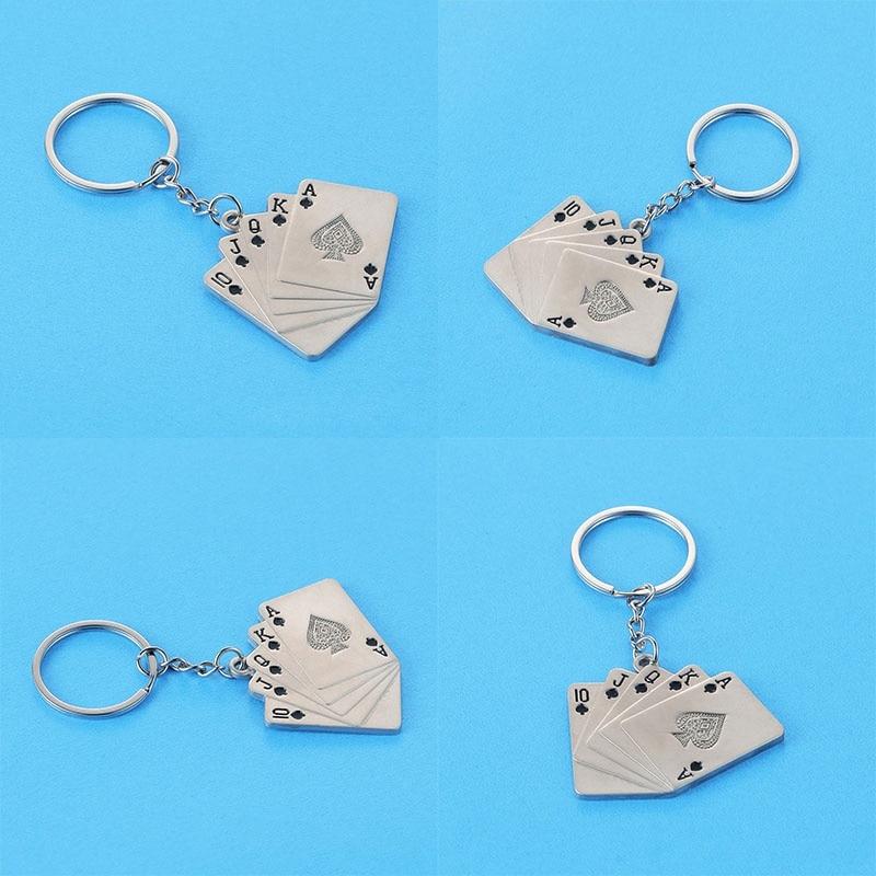 New Poker Straight Flush 10JQKA Keychain Ring For Men Keyring For KidsKey Holder Fashion Metal Creative Gift Birth Stone Jewelry
