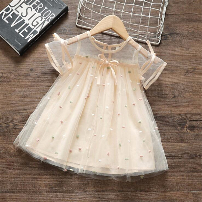 1-3 Years Baby Girls Bow Lace Dress Fly-sleeve Kids Dresses For Girl Summer Princess Embroidery Beach Party Clothes