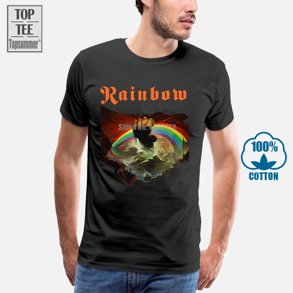 New Arrivals 2018 Rainbow Rising Graphic T Shirt English Rock Band Ritchie Blackmore Design T Shirt Fashion Tees