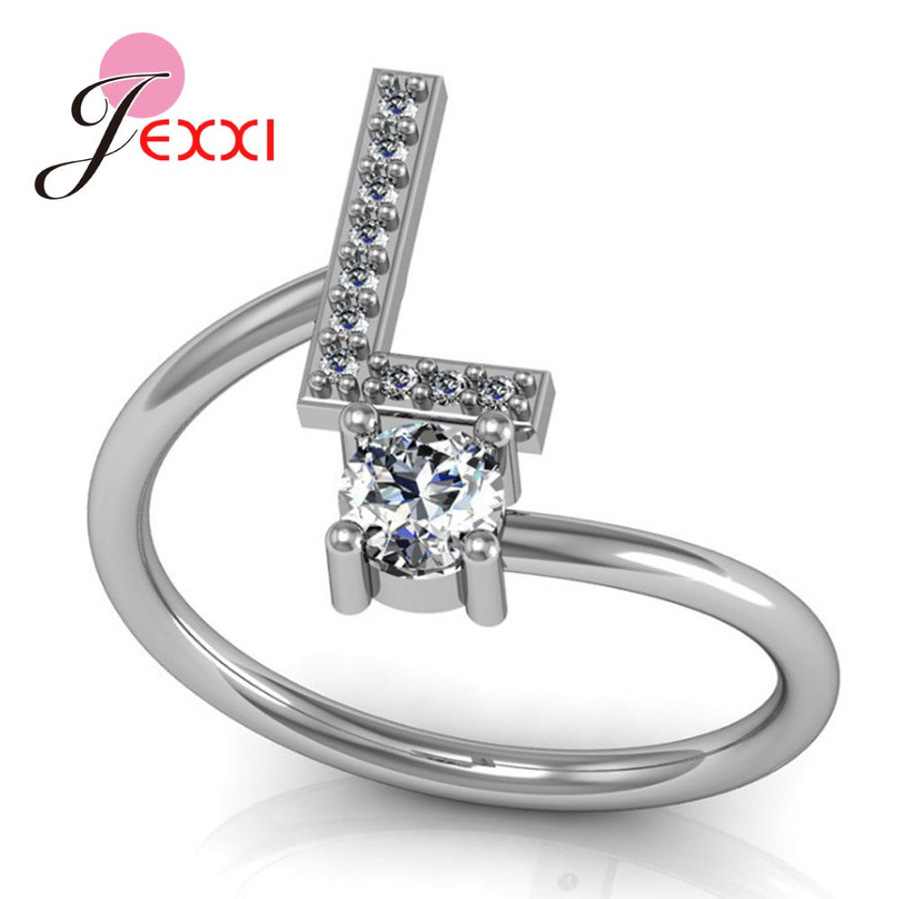 Hot Sale 925 Silver Ring Creative A To Z Initial 26 Letters CZ Crystal Paved Setting Name Jewelry for Women Men Drop Shipping 4