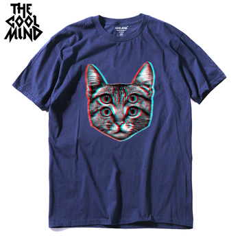 COOLMIND top quality cotton casual short sleeve summer cat print men T shirt loose knitted fashion mens tshirt male tee shirts