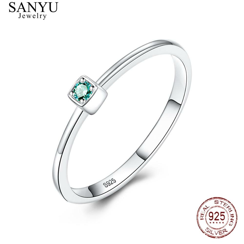 SANYU Genuine 925 Sterling Silver VVS Green Topaz Wedding Rings For Women Minimalist Thin Square Gem Rings Jewelry Carving S925