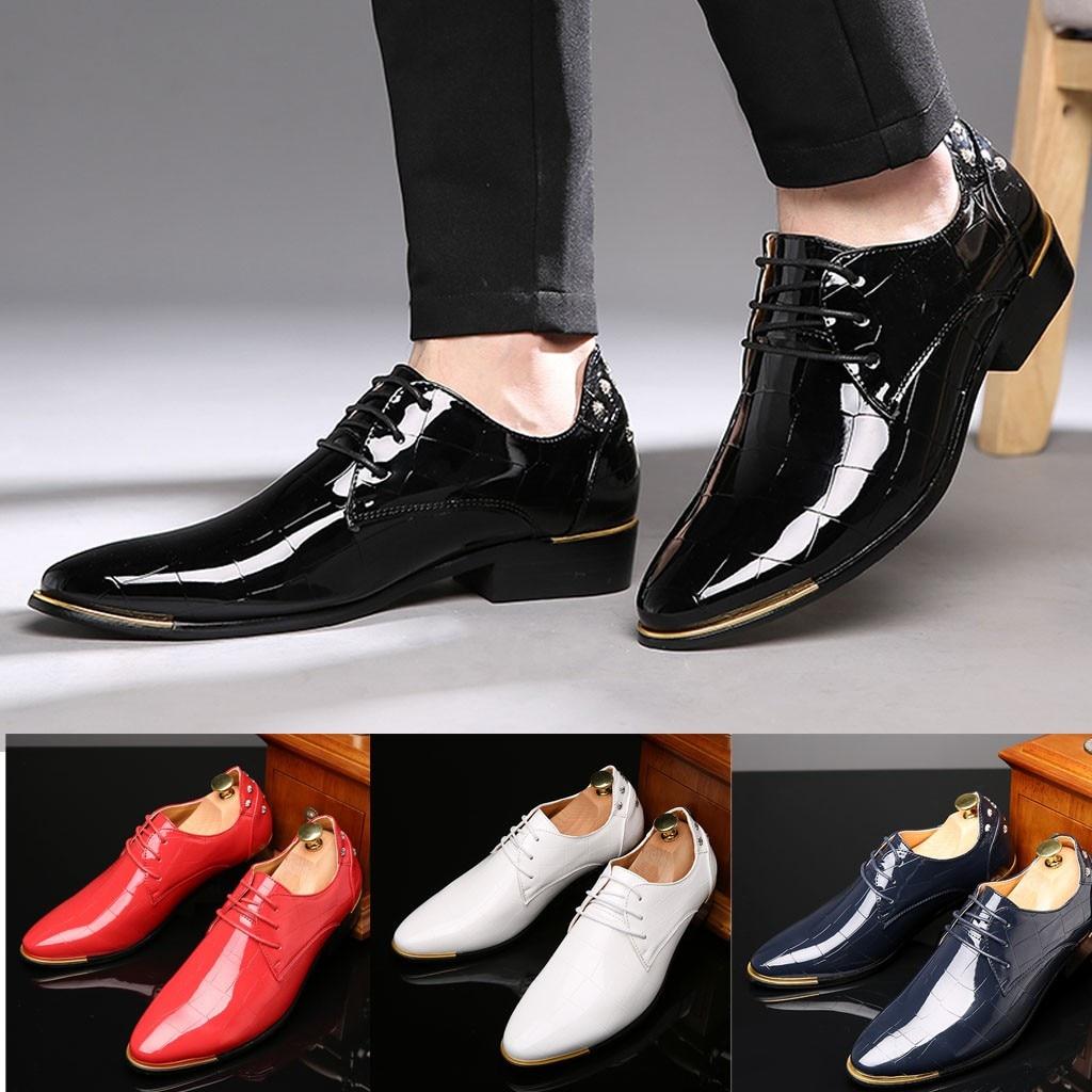 Pop Tide adulte toile chaussures hommes en cuir chaussures affaires pointu peinture en cuir brillant en cuir mode chaussures Loafers510