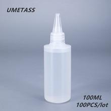 UMETASS 100 مللي جولة البلاستيك الغراء زجاجة ل جيل للأظافر فارغة ضغط حاوية البولي ايثيلين ل الغراء الحبر السائل 100 قطعة/الوحدة