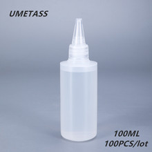 UMETASS 100ml Round Plastic Glue Bottle for Nail Gel Empty Squeeze PE container for Glue Liquid ink 100PCS/lot