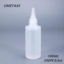 UMETASS, botella con pegamento plástico redondo de 100ml para Gel de uñas, envase vacío de PE para pegamento, tinta líquida, 100 unids/lote