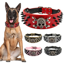 Wide Spiked Studded Leather Dog Collar Bullet Rivets With Cool Skull Anti Bite Pet Accessories For Medium Large S-L D30