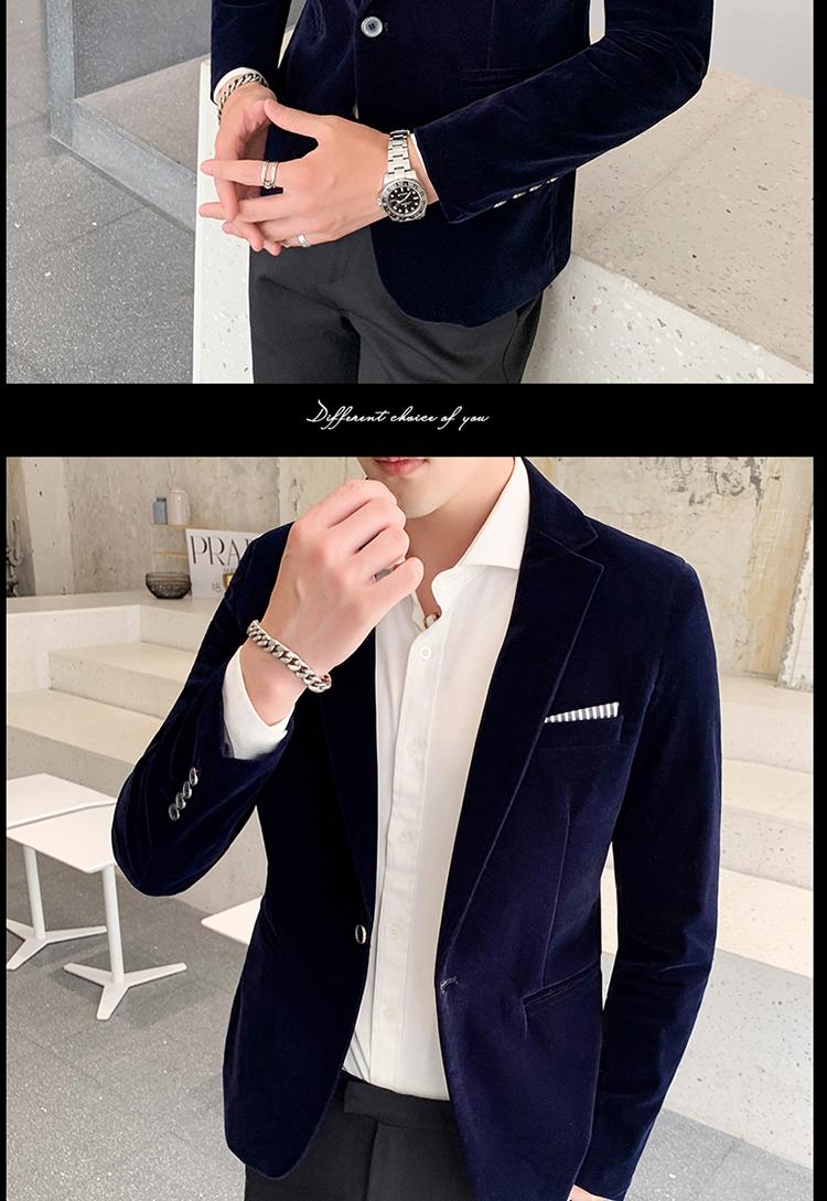 H398ce1097d5f4087bc44b86b2a438cddd - Autum Velvet Wedding Dress Coat Mens Blazer Jacket Fashion Casual Suit JacketStage DJ Men's Business Blazers Veste Costume Homme