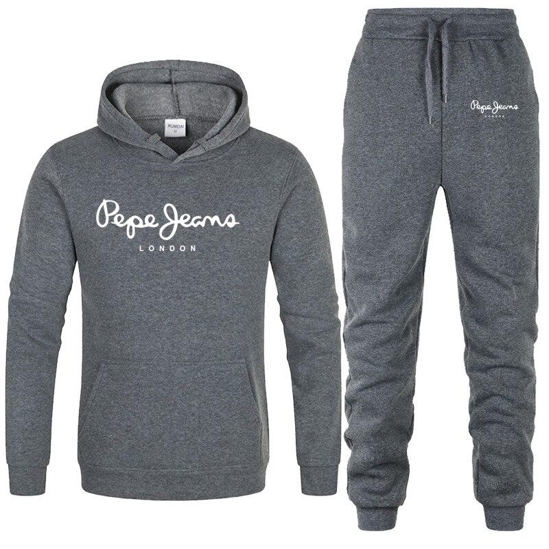Новая брендовая одежда, мужские повседневные толстовки, пуловер, мужской спортивный костюм, толстовки из двух частей + штаны, спортивные
