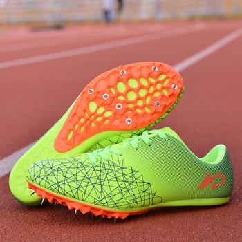Męskie i damskie buty lekkoatletyczne oddychające kolce buty do biegania zielone pomarańczowe buty sportowe kolce dla mężczyzn tanie i dobre opinie BUFEIPAI Syntetyczny Pcv podłogi Początkujący Dla dorosłych Masaż Buty utwór i pola Średnie (b m) Lace-up Spring2019