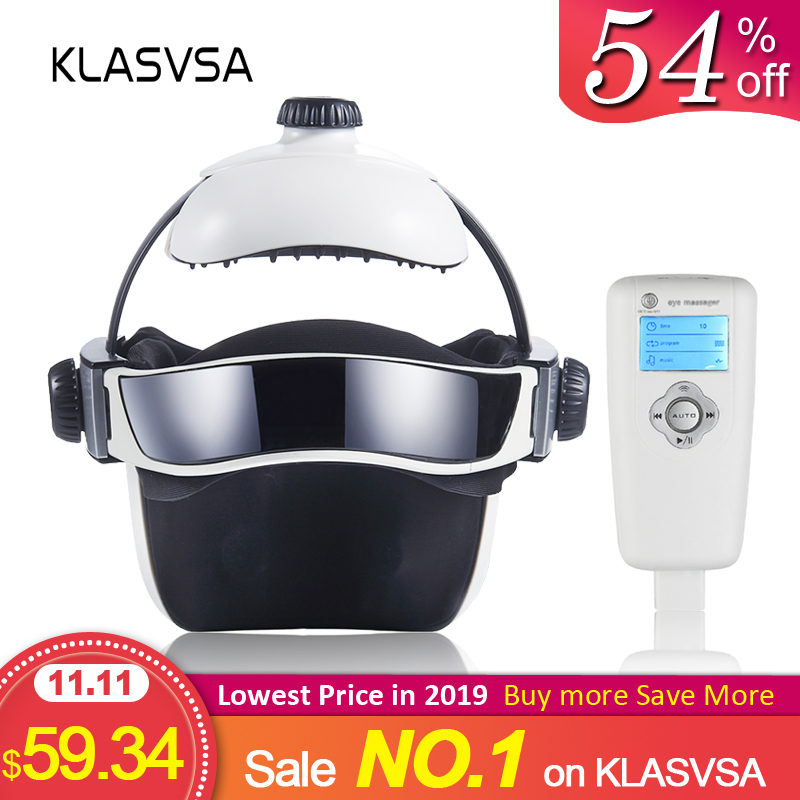 KLASVSA Electric Heating Neck Head Massage Helmet Air Pressure Vibration Therapy Massager Music Muscle Stimulator Health Care-in Massage & Relaxation from Beauty & Health