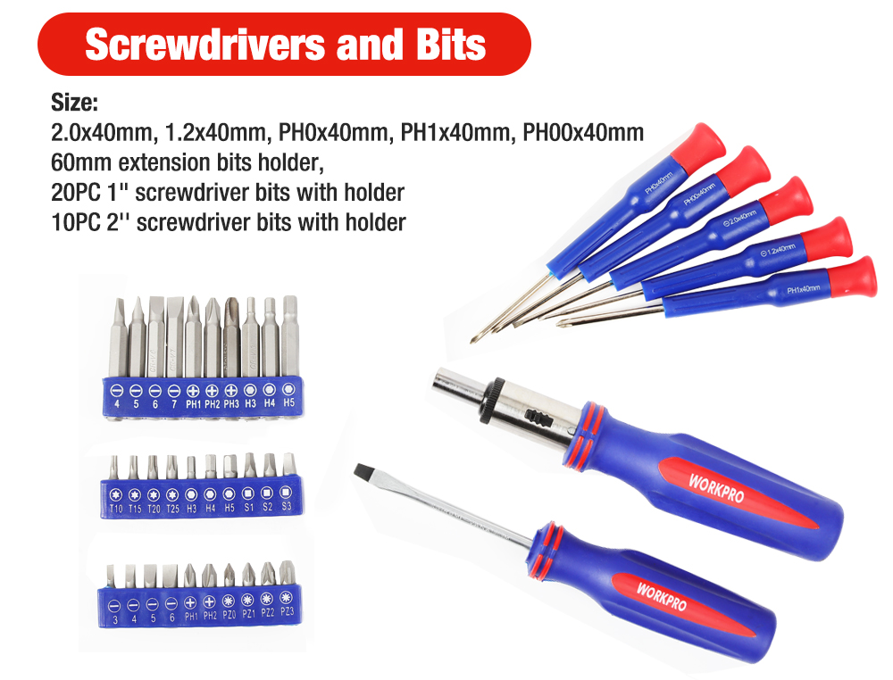 WORKPRO 139PC Home Repair Tool Set Screwdrivers and bits