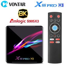 TV Box X88 PRO X3, Android 9,0, decodificador inteligente 4K con 4GB de RAM, 64GB, 32GB, Amlogic S905X3, Quad Core, 1080p