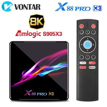 X88 PRO X3 Android 9 0 TV pudełko 4GB pamięci RAM 64GB 32GB procesor Amlogic S905X3 czterordzeniowy 1080p 4K inteligentny telewizor Top odtwarzacz multimedialny Box TVBOX tanie i dobre opinie VONTAR 1000 M CN (pochodzenie) Amlogic S905X3 Quad-core 64bit Cortex-A55 32 GB eMMC 64 GB eMMC 128 GB eMMC Brak 2G DDR3