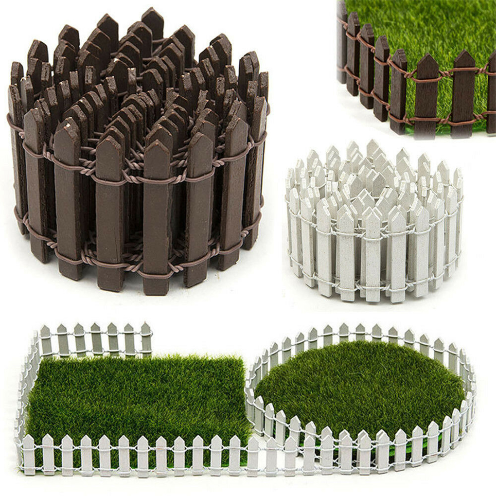 New 100 * 5cm DIY Mini Fence Small Wooden Barrier Miniature Crafts Fairy Garden Doll Levers Decoration