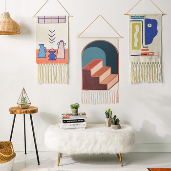 Home Decoration Morocco Geometric Tapestries Decorated fabric art simple tapestry wall hanging mexican boho decor фото