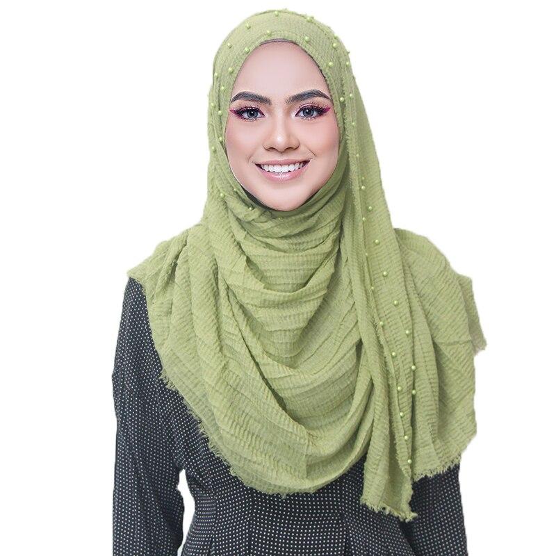 New Arrival Crinkle Cotton Hijab Scarf Beads Headband Pearls Scarves Shawls Islamic Warps Pleated Muslim Scarves 200*90cm