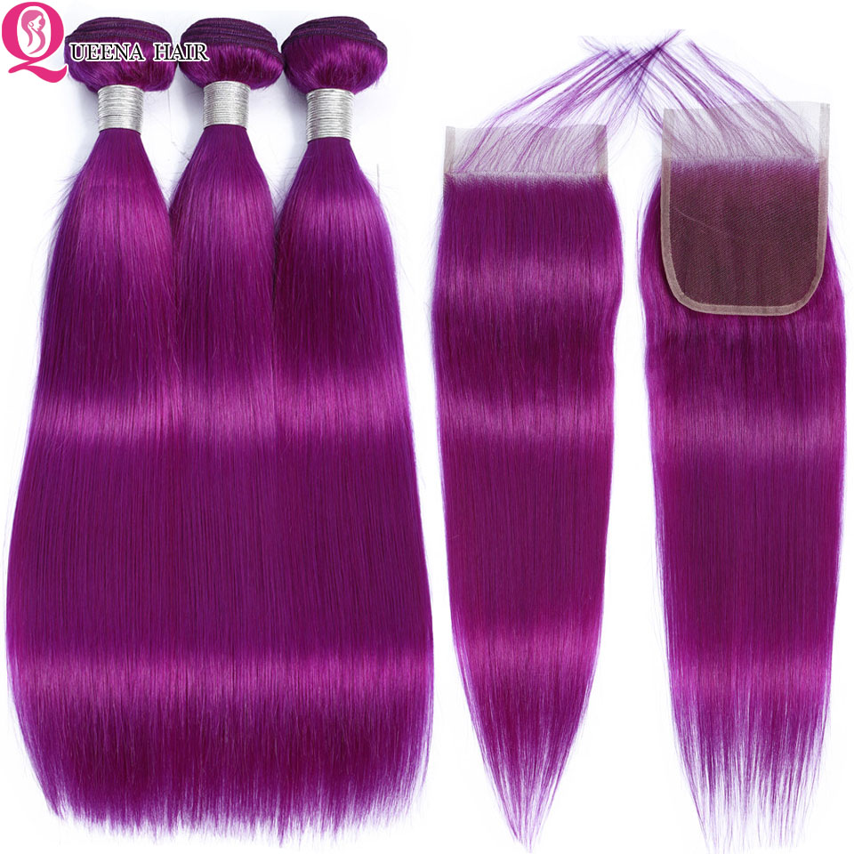 Queena Peruvian Straight Hair Purple Bundles With Closure Colored Human Hair 4*4 Lace Closure With Bundles Remy Hair Extensions