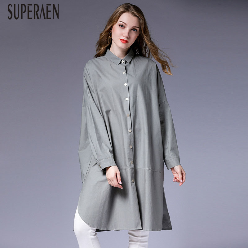 SuperAen Europe Pluz Size   Trench   Coat for Women Autumn 2019 New Wild Cotton Lapel Ladies Windbreaker Fashion Women Clothing