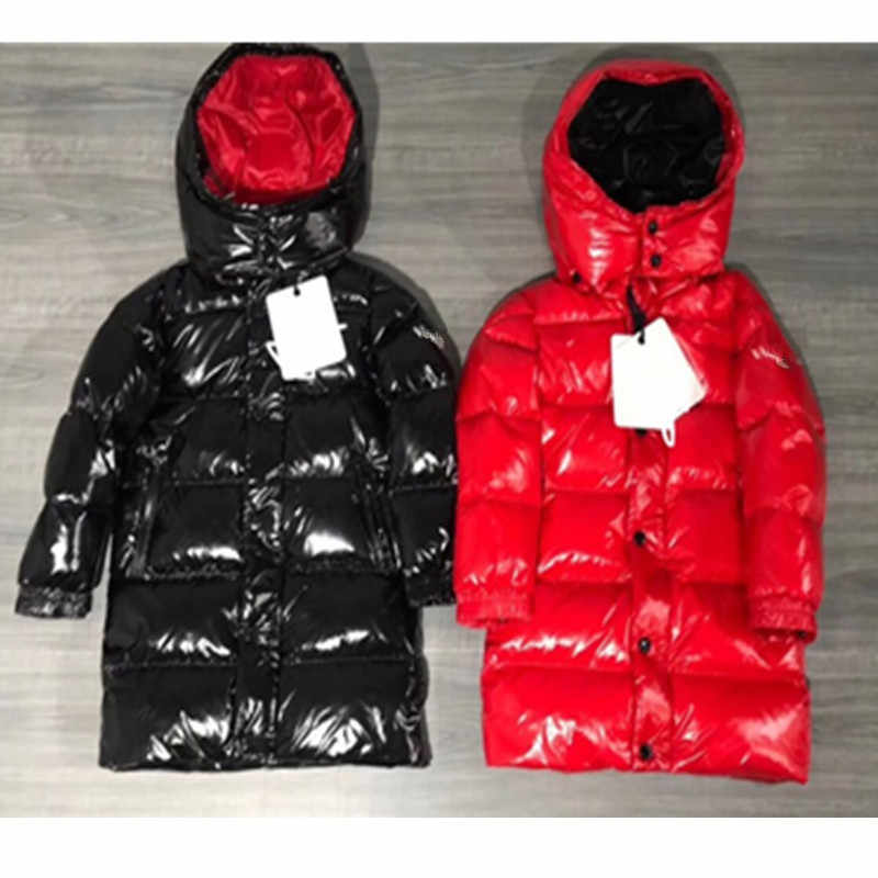 Kids Long Duck Down Coats for Boys Girls Winter Children Brand Hooded Thick Jackets Windproof Waterproof Outfits Parka Tops