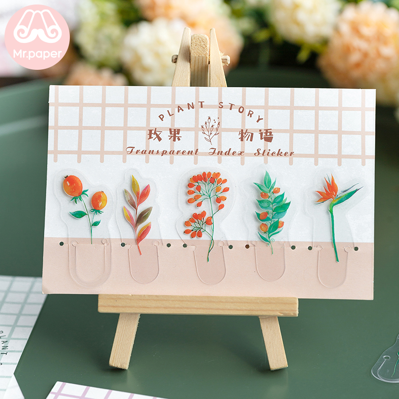 Mr.Paper 4 Designs Plant Story Transparent Index Mark Stickers PVC Material Flowers Leaves Fruits Creative Bookmarks Stickers